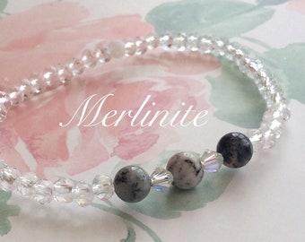 Merlinite Agate Crystal Bracelet