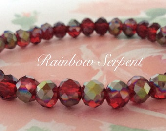 Rainbow Serpent red beaded bracelet