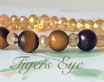 Tigers Eye Crystal Bracelet with Sterling Gold Daisy Charm