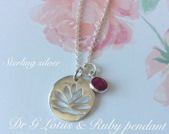 Sterling Silver necklace with Lotus Flower with Ruby charm necklace