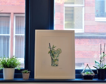 Gin and Tonic Illustration Print