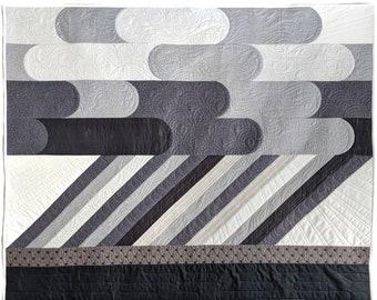 Modern landscape quilt pattern: Downpour - rain cloud quilt pattern - wallhanging quilt, baby quilt, crib quilt, throw quilt, lap quilt