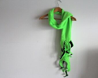Octopus Tentacle Scarf - Lime Green and Black Polar Fleece