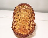 Amber Candle Holder, Amber Fenton Hobnail Tea Light Holder, Amber Farmhouse Cottage Chic, Vintage Glass