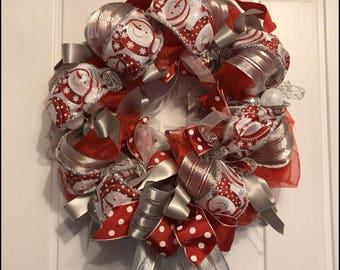 christmas ribbon wreath christmas decoration snowman door wreath door decoration red white silver door wreath