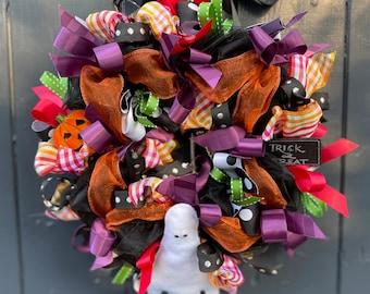 Halloween Ribbon Wreath Halloween Decoration Pumpkin Ghost door wreath door decoration