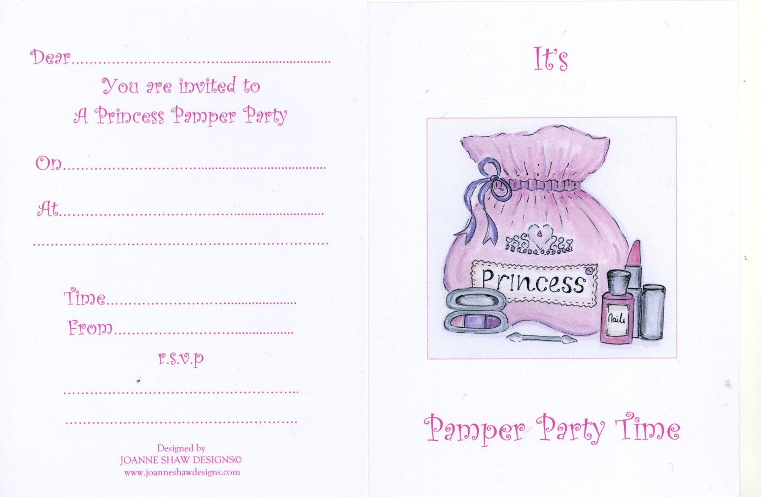 Princess Pamper Party Invitations Invites Girls