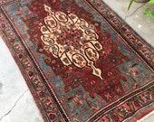 3 39 8 x 5 39 9 Vintage Hand Woven Village Rug ( 1439) 4x6 vintage rug