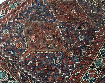 "5'1"" x 6'1"" Antique Shiraz Tribal Rug / 5x6 Antique Rug / Vintage Square Rug"