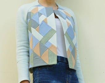 blue woolen patchwork raglan sleeves short  jacket
