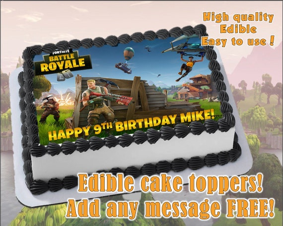 Fortnite Party Edible Cake Toppers Edible Print Sugar Sheet Etsy