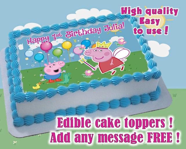 Peppa Pig Birthday Cake Toppers Edible Print Sugar Sheet Etsy