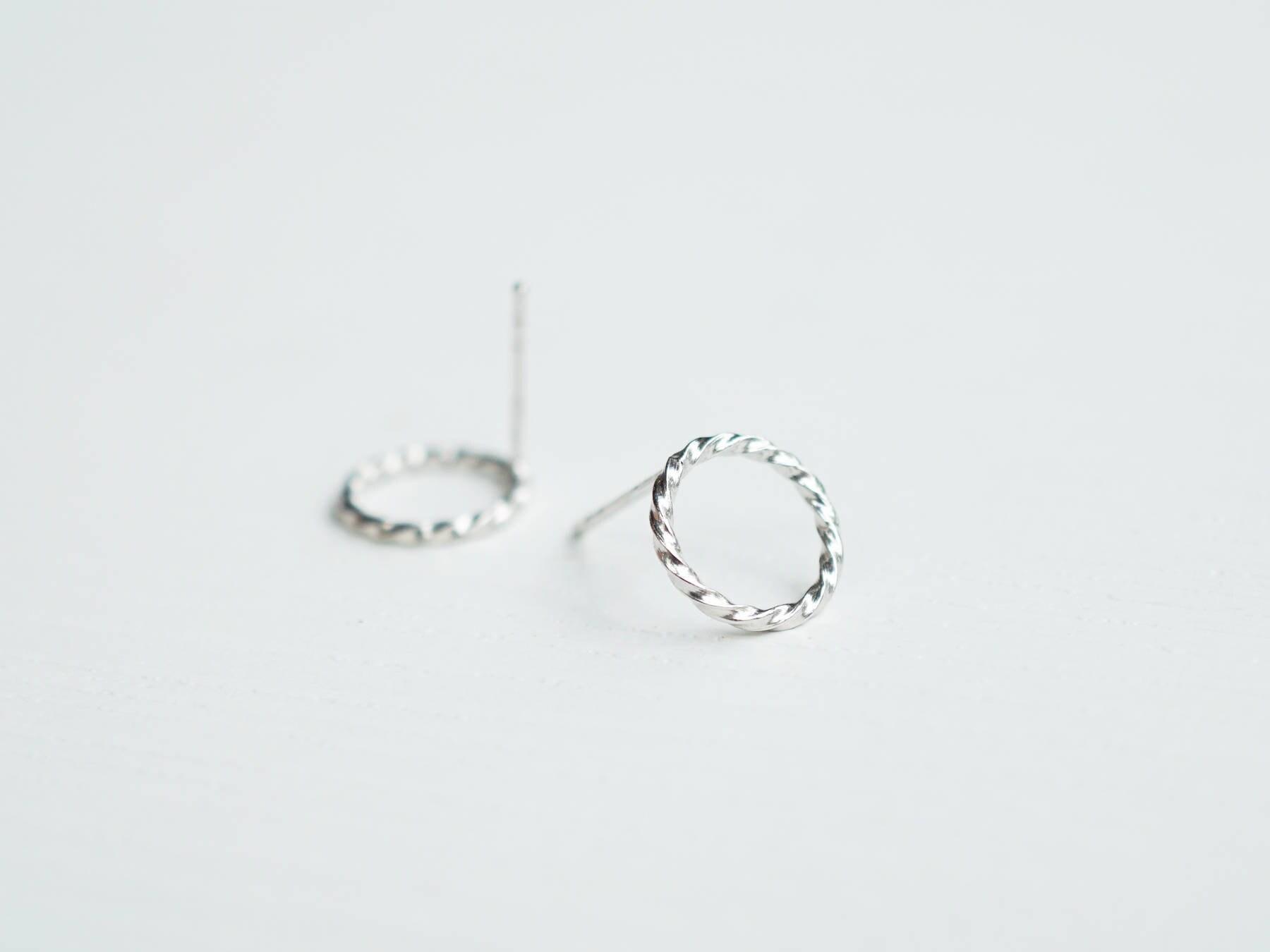 8efbd4641 Silver Twisted Circles Studs Rope Twist Stud Earrings Karma   Etsy