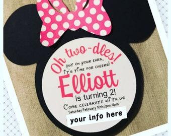 Minnie or Mickey birthday party invites