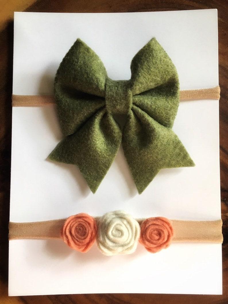 Felt bow headband set-babygirl headband set-newborn headband set