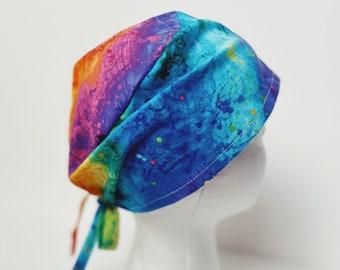 Tie die hat for women/colorful scrub cap women/rainbow scrub hat button option/nurse cap with button/cute scrub hat women, dental