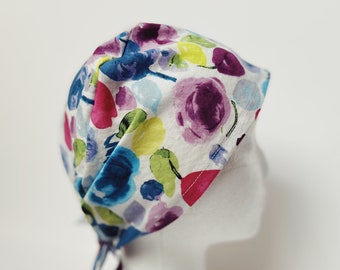 Dental caps for women/colorful scrub cap women/scrub hat with button/nurse cap with button/cute scrub hat women