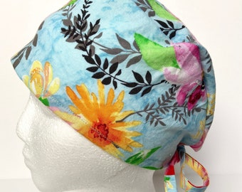 Blue surgical cap women/floral scrub cap/cute scrub hat optional buttons/cute nurse cap/cute dental cap, vet tech. Nurse gift