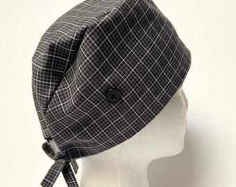 surgical cap men, dental cap men, scrub hat with button/nurse cap with button/gray scrub hat unisex, scrub caps men