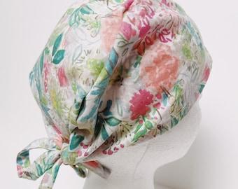 Cute surgical cap women/floral cap women/washable scrub hat/nurse cap with tie backs, cute scrub hat with button optional