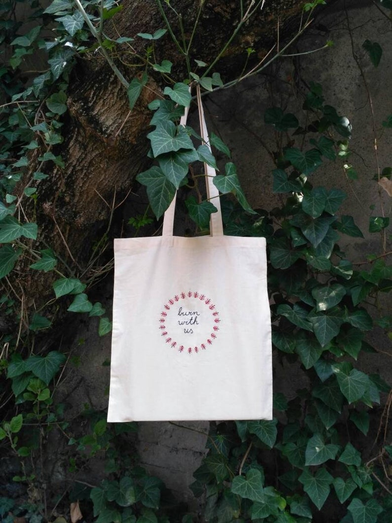 hand embroidered tote bag Burning Forest