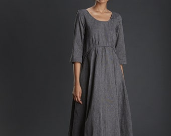 New Collection/ handloom/Charcoal Grey Dress/ Evening Long Dress/ Cotton Dress/ Maxi Dress/ Long Grey Gown/ Beautiful Dress/ Designer Dress