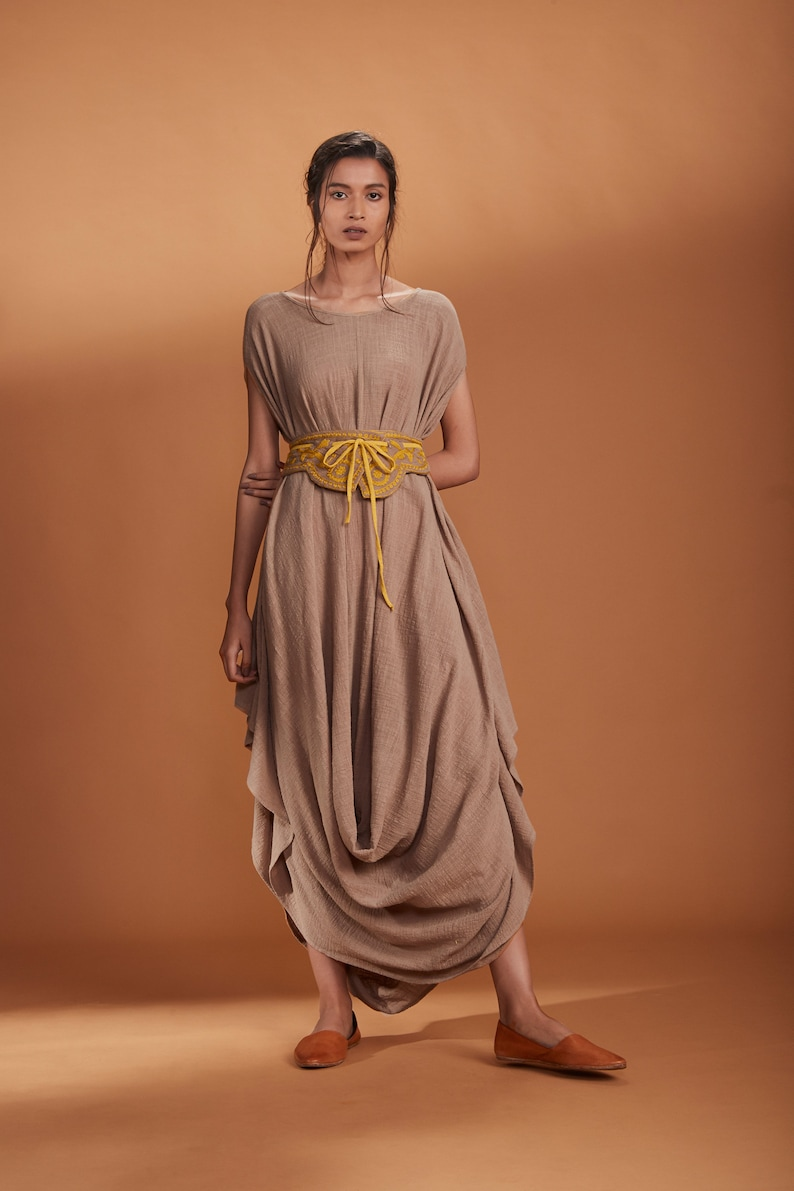 Cowl dress with embroided beltEmbroided beltCowl dressdress with beltLose fit dress with beltBeltDesigner wearComfortable wearDress