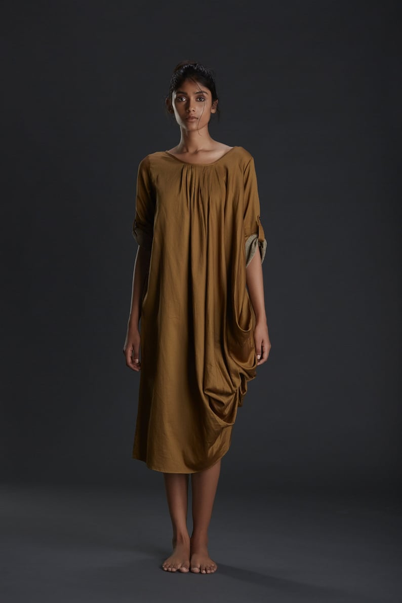 6571a6b6f7aa6 New 2017/ Gold Drape Pleated Dress/ Sexy Party Gown / Summer Tunic/ Beach  wear/ Designer Drape Dresses/ Sustainable Fashion