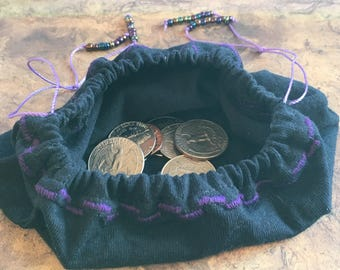 Black And Purple Draw String Coin Purse