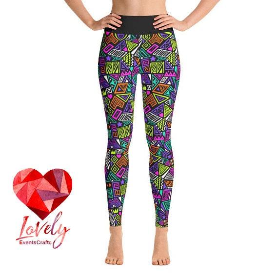 4d6ad3e2b7c661 Abstract Yoga Leggings African Print Yoga Leggings Womens | Etsy