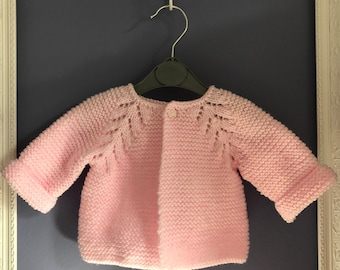 Hand knitted baby girl cardigan 0-3 months