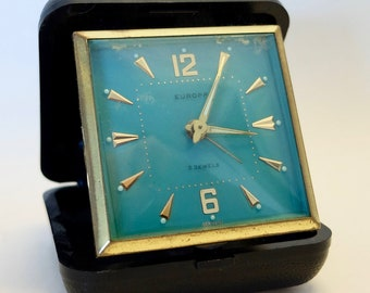 Vintage travel clock with alarm clock function-type Europa 2 jewels