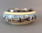 Antique 8 quot Transferware Platter Bowl Fishing Scene Nautical Cabin Silver Plated Ceramic England