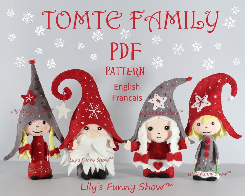 Tomte family  Christmas Ornament  Instant download Patterns image 0