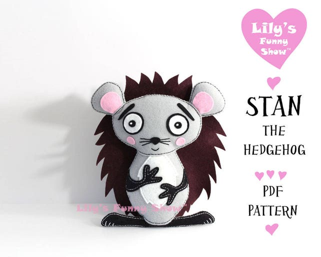 Hedgehog Sewing Pattern Felt Pdf Pattern Instant Download Etsy