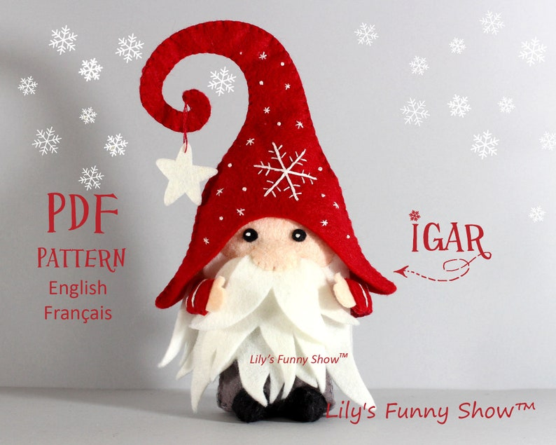 Tomte  Christmas Gnome  Felt toy  Instant download pattern image 0