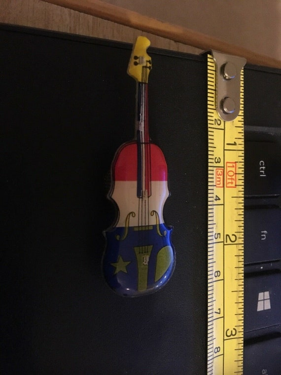 Vintage Magnetic Pin Violin Or Viola Or Cello Or Bass Red White And Blue