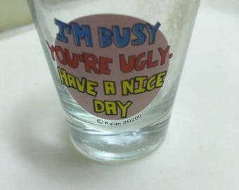 Shot glass: I'M Busy You're Ugly Have A Nice Day