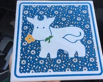 """Vintage 1970s Decorative Cow Tile Trivet by ORIENT , 6""""x6"""""""