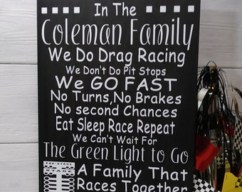 cbbfa68f Drag Racing Sign, In This Family Personalized Drag Racing Sign, Gift For  Race Fan