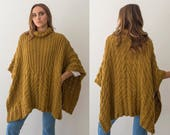 Hand knit poncho for woman, Cable poncho sweater, Mustard braided poncho