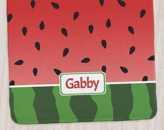 """Watermelon Personalized Baby Blanket - Size 29"""" x 39"""" Red and Green Design - Made to Order"""