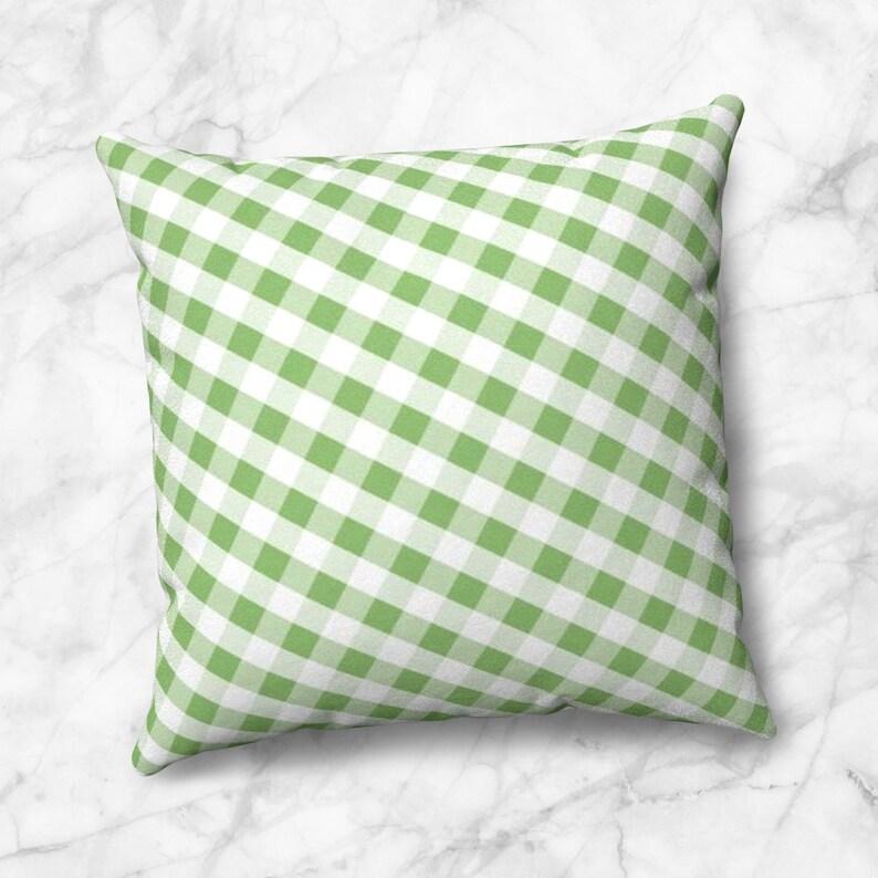 Green Gingham Throw Pillow  White Green Gingham Pattern  4 image 0