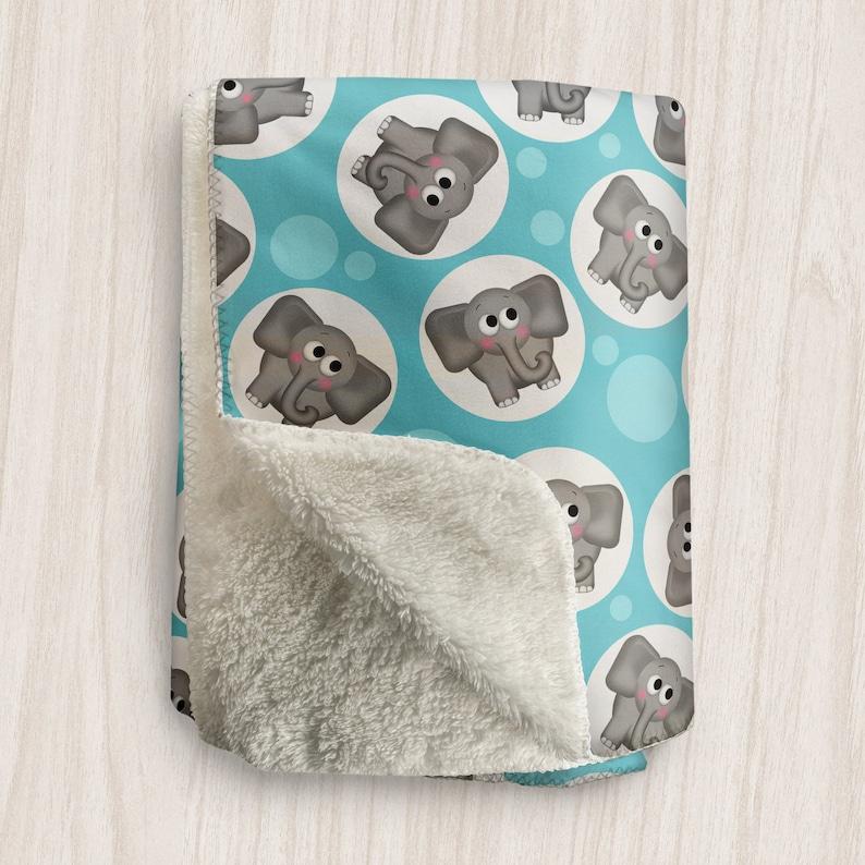 Turquoise Elephant Blanket Cute Elephant Pattern on Turquoise image 0