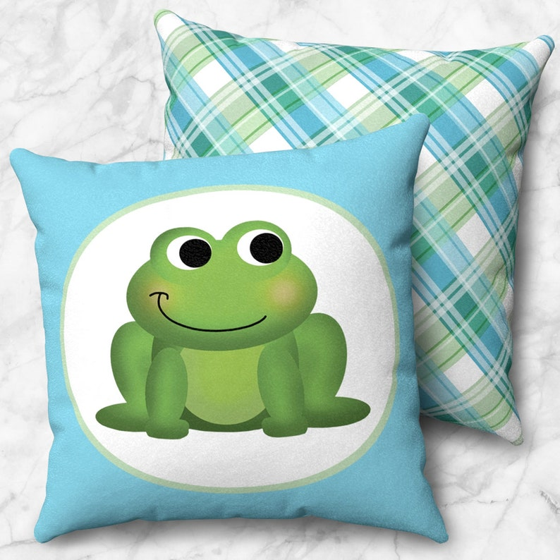 Cute Happy Frog Throw Pillow  Green Blue Plaid Pattern  Size image 0