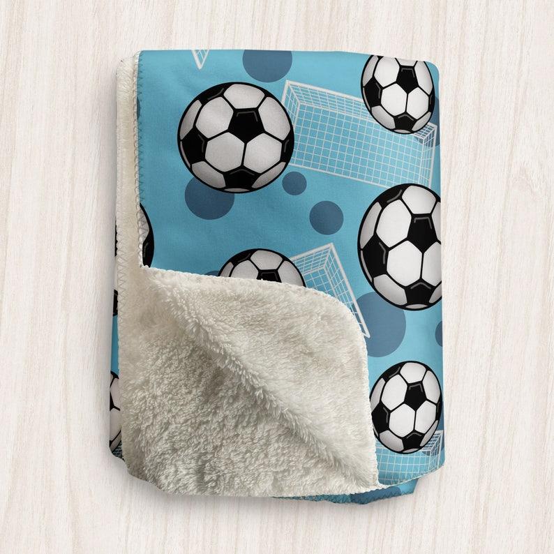 Blue Soccer Blanket Soccer Ball and Goal Pattern on Blue  image 0