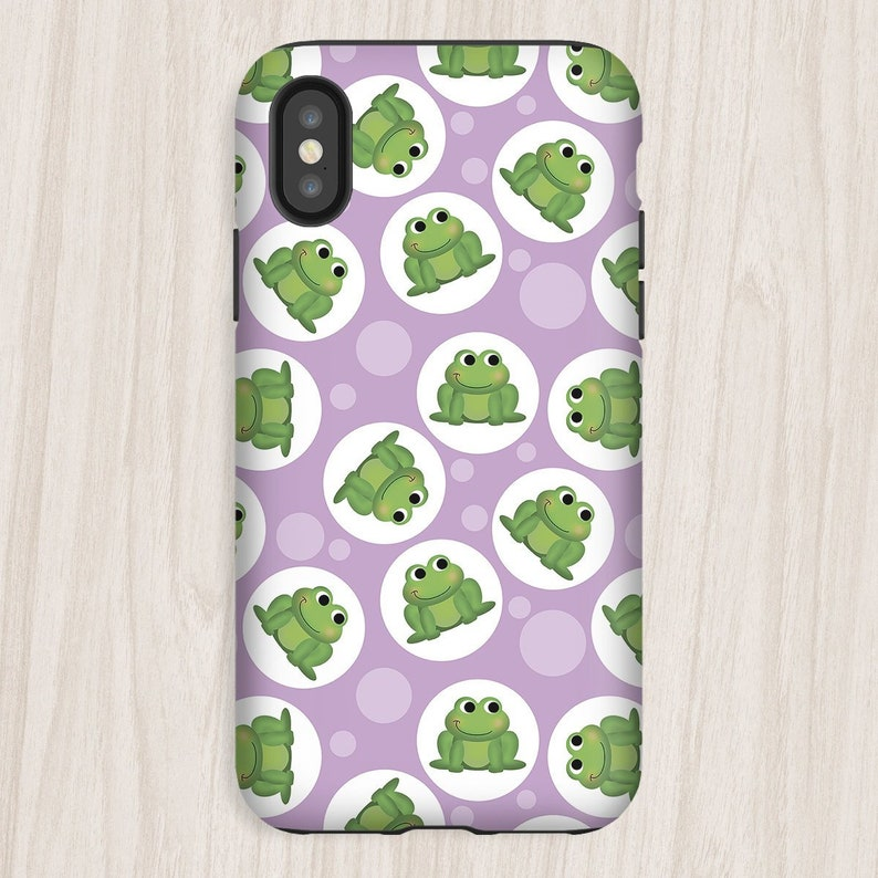 Purple Frog iPhone Tough Case cute frog pattern over purple  image 0