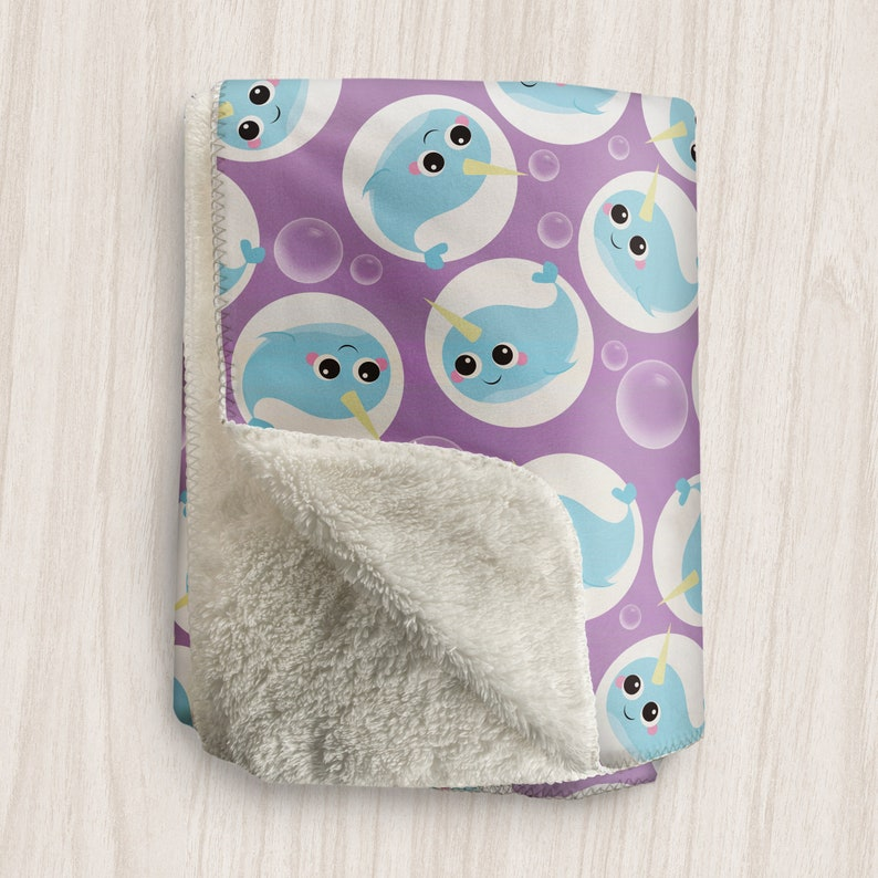 Purple Narwhal Blanket Cute Narwhal Bubble Pattern over image 0