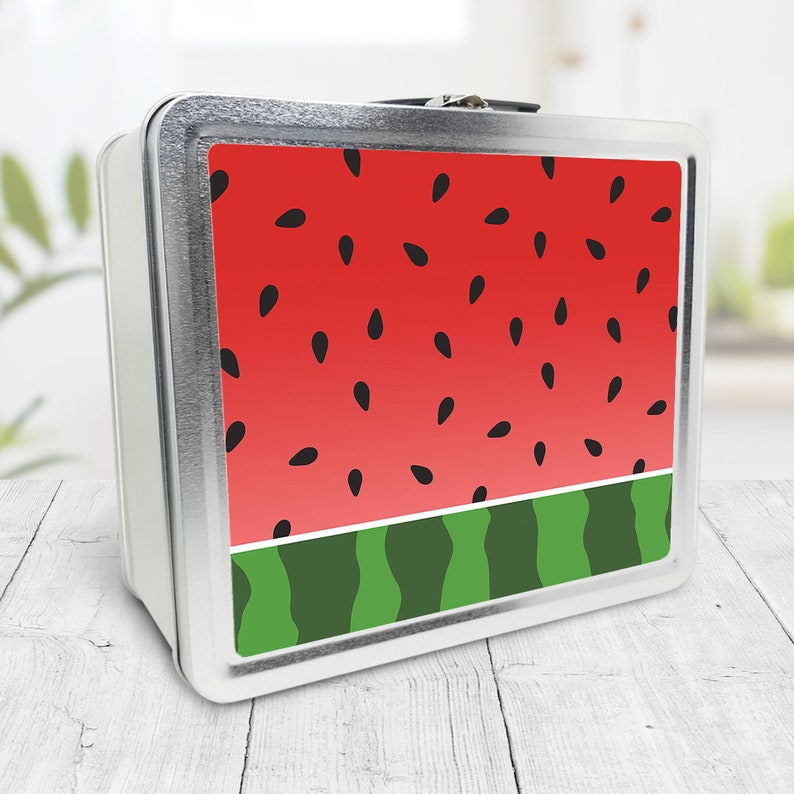 Watermelon Lunch Box red green  Tin School Lunch Art Craft image 0