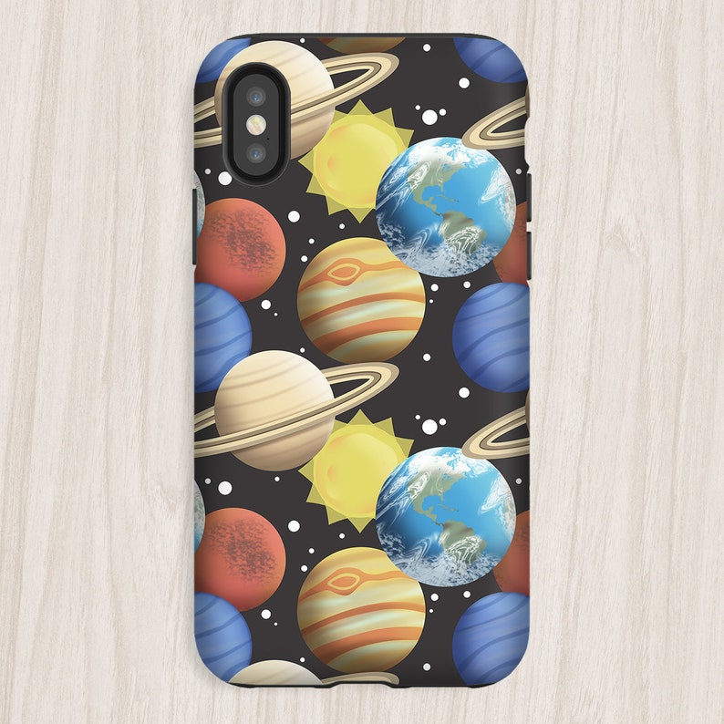 Space Planets iPhone Tough Case pattern with planets sun and image 0
